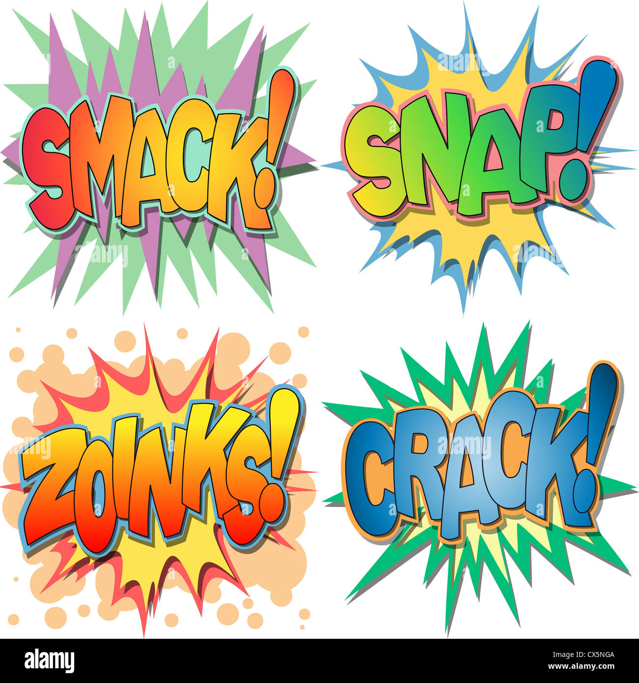 A Selection of Comic Book Exclamations and Action Words, Smack, Snap, Zoinks, Crack. - Stock Image