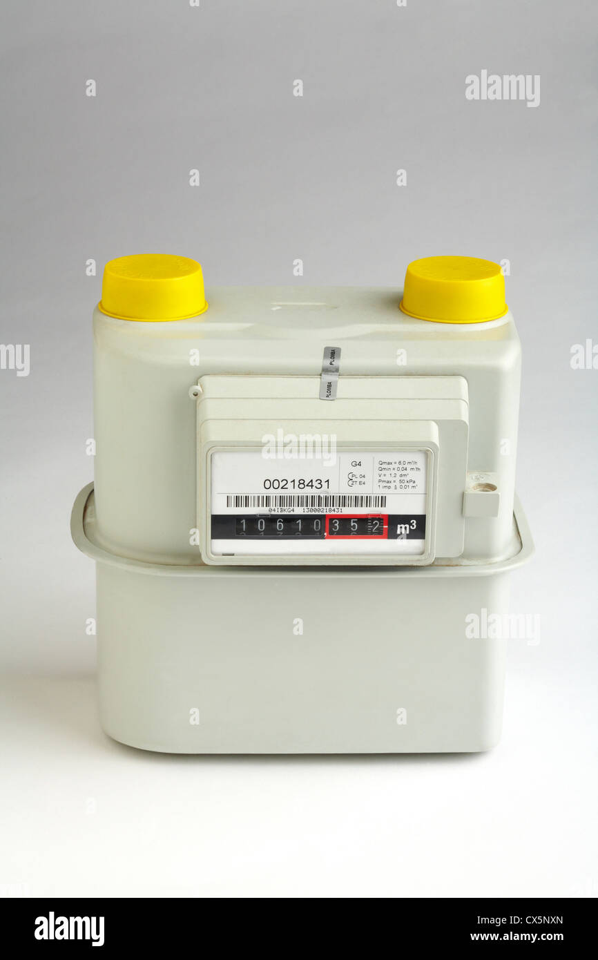 Gas Meter unconnected on white background - Stock Image