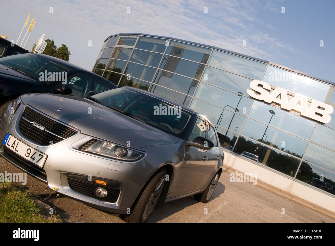 saab car cars dealer dealers dealership dealerships sweden swedish company new 95 - Stock Image