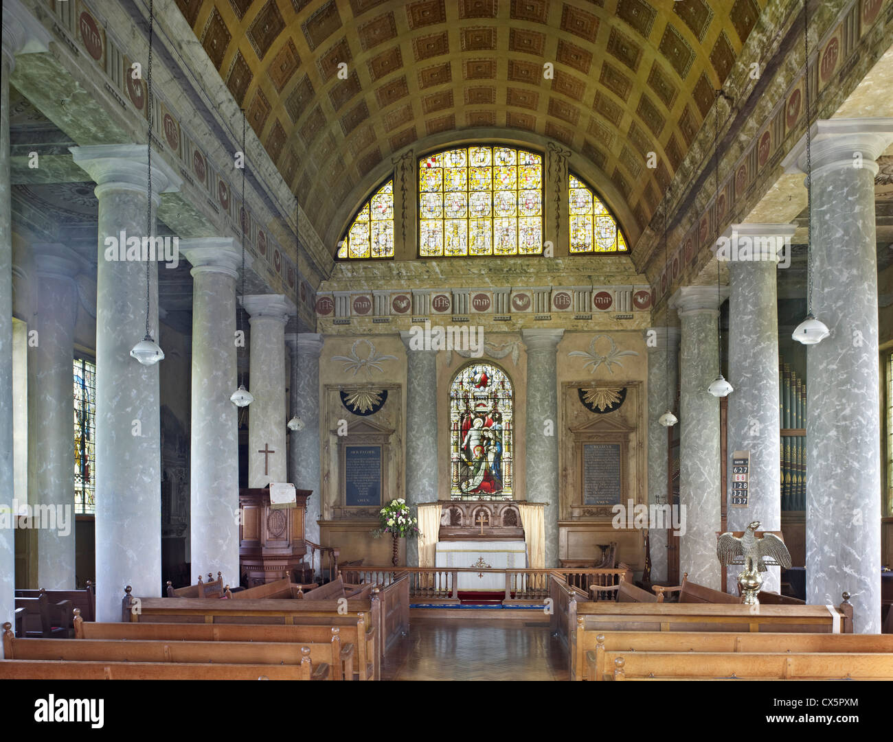Mereworth, Kent. St Lawrence nave - Stock Image