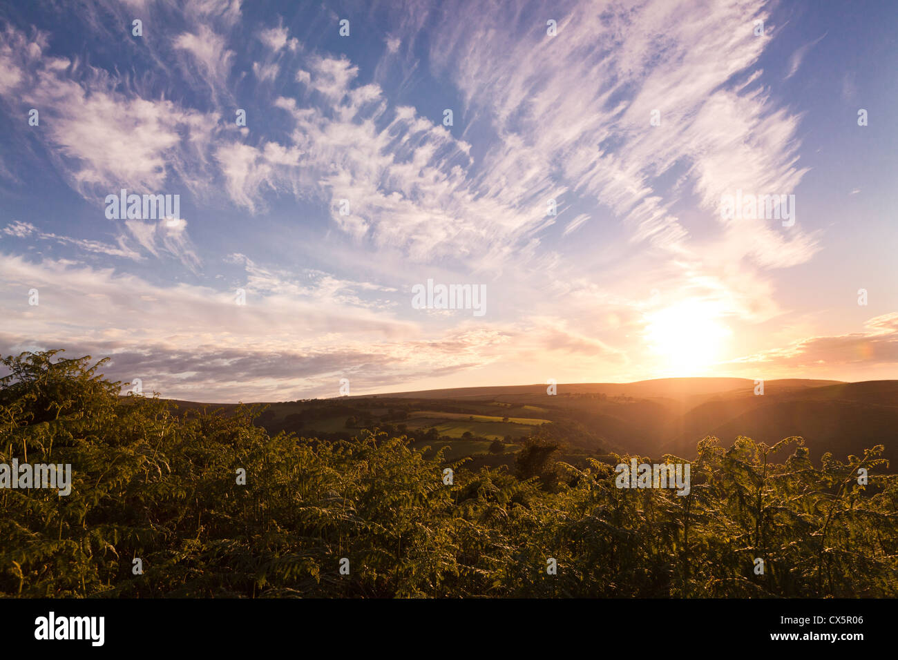 Sunset on Exmoor from Dunkery Hill, Somerset, UK - Stock Image