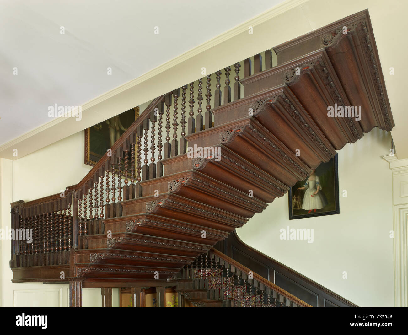 Bradbourne, East Malling, Kent. staircase - Stock Image