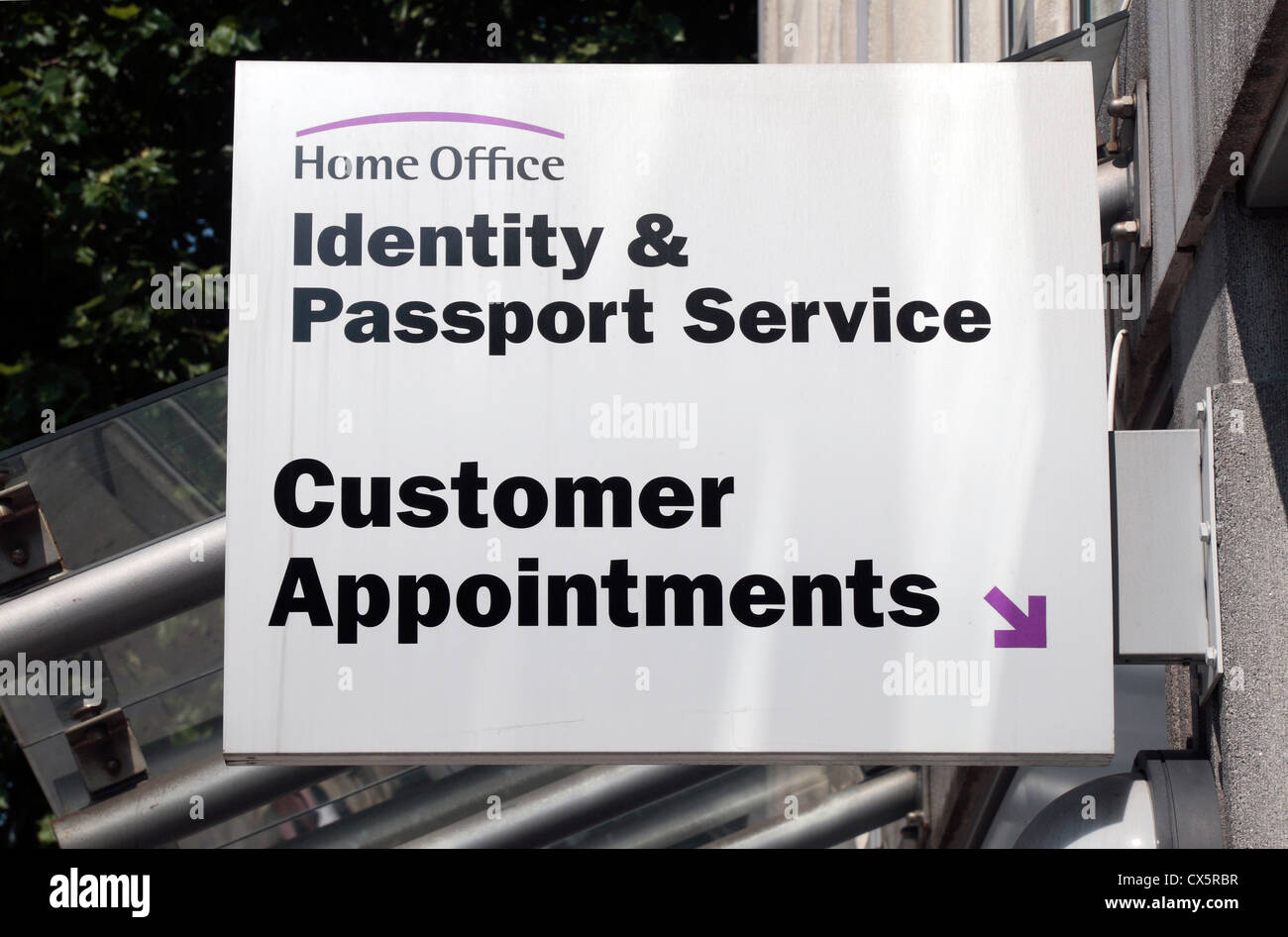 Sign outside the Identity and Passport Service office, Globe House ...