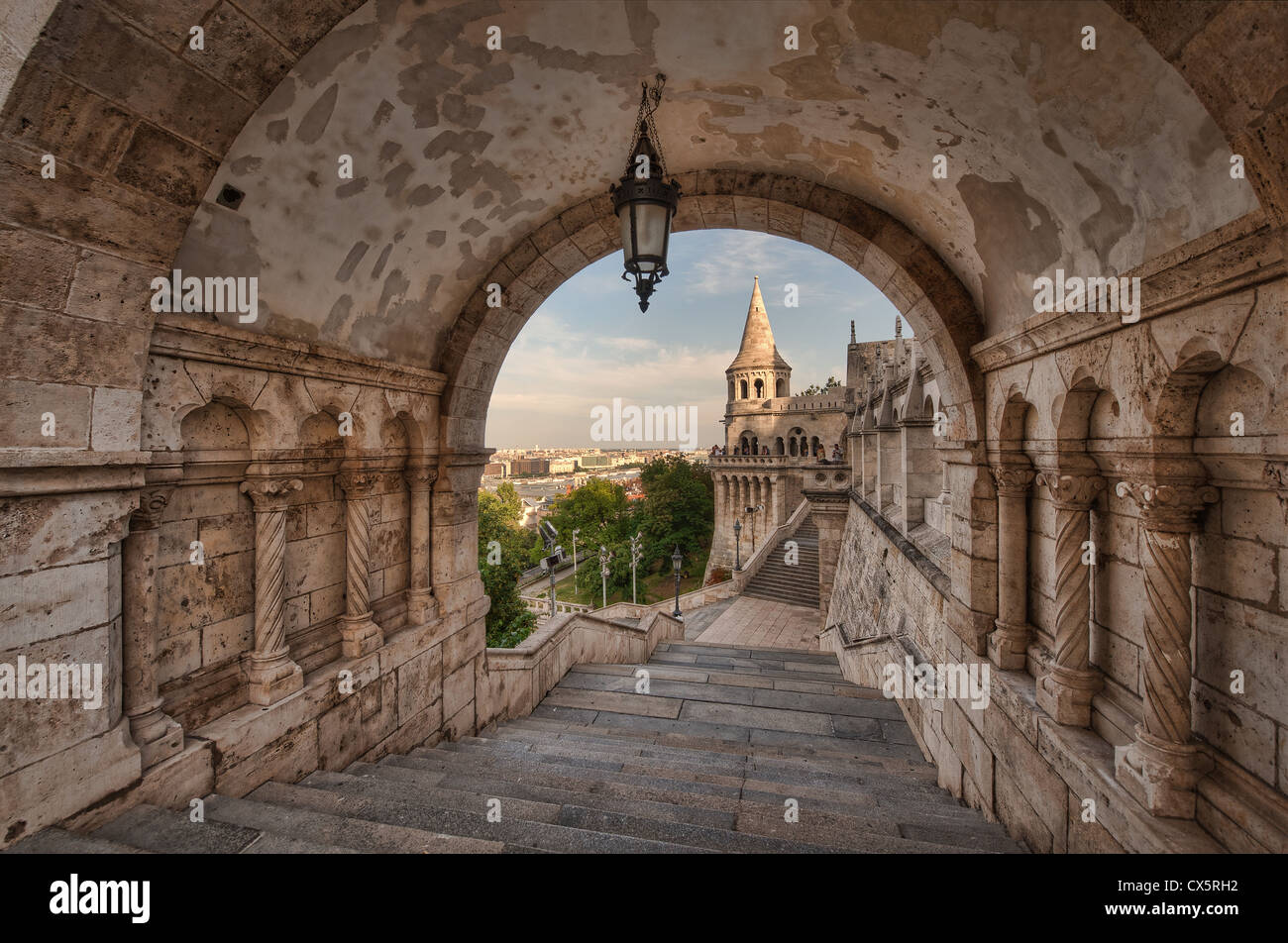 The Fisherman's Bastion (Halászbástya) is a neo-Romanasque style terrace that overlooks the city of - Stock Image