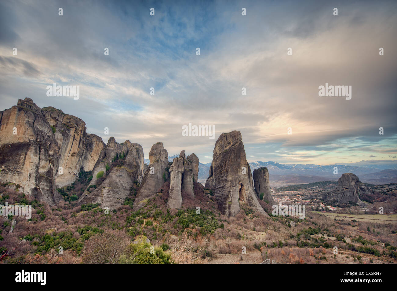 The strange and mystical landscape of Meteora in the Plain of Thessaly, northern Greece, is dominated by huge limestone - Stock Image