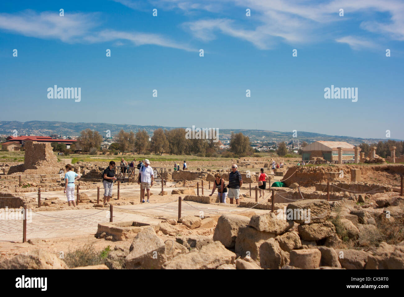 Sightseers at Roan ruins, Paphos, Cyprus - Stock Image