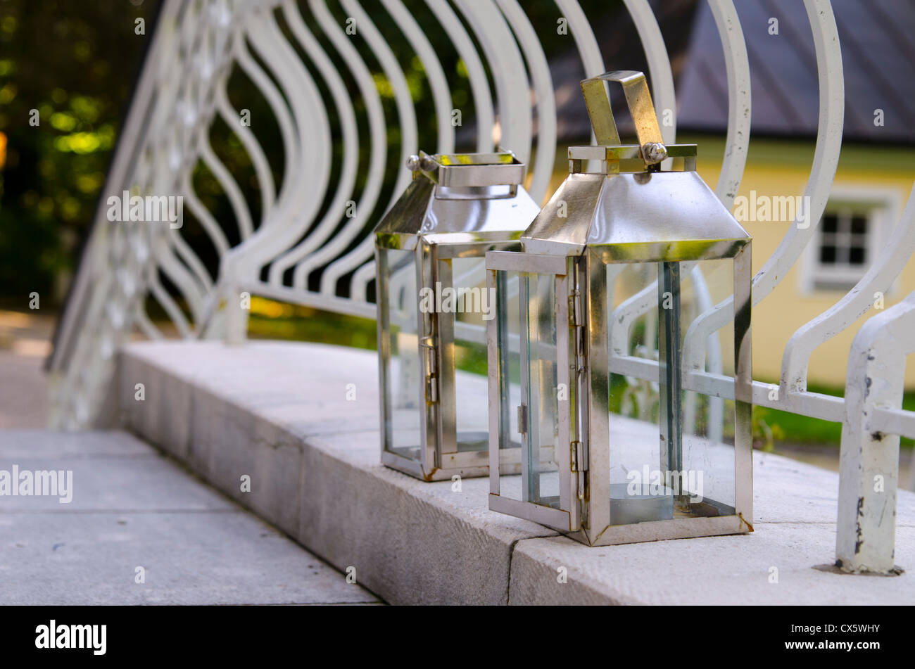 Lanterns at the Villa von Trapp in Salzburg, Austria - Stock Image
