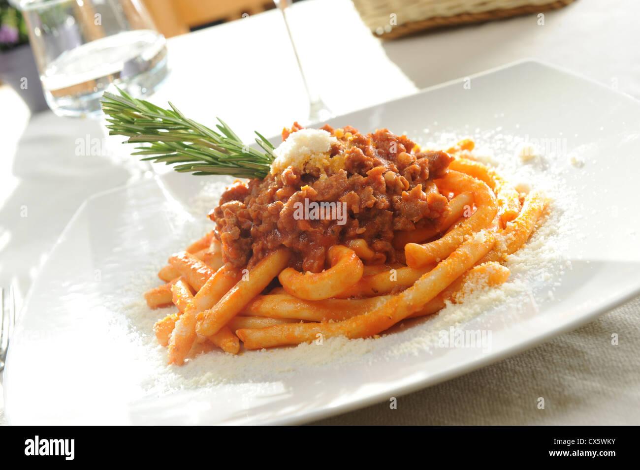 italian maccheroni with Bolognese sauce Stock Photo
