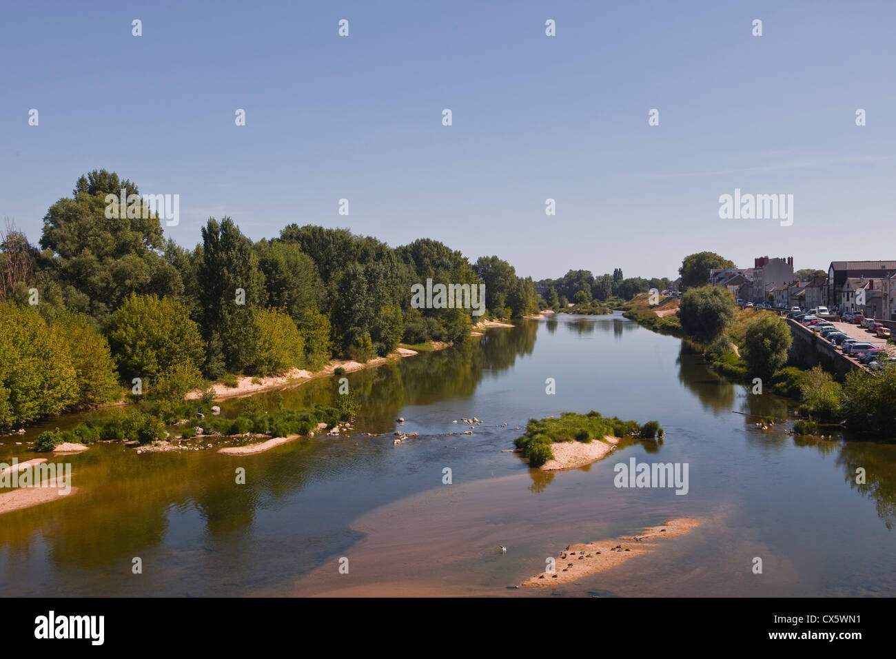 Looking down the river Loire in the city of orleans in France. - Stock Image