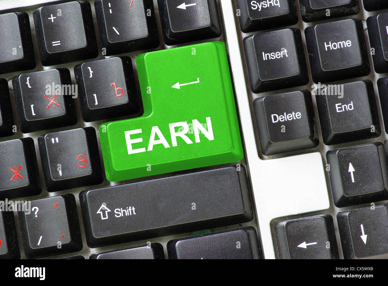 Keyboard with keys for earn - Stock Image