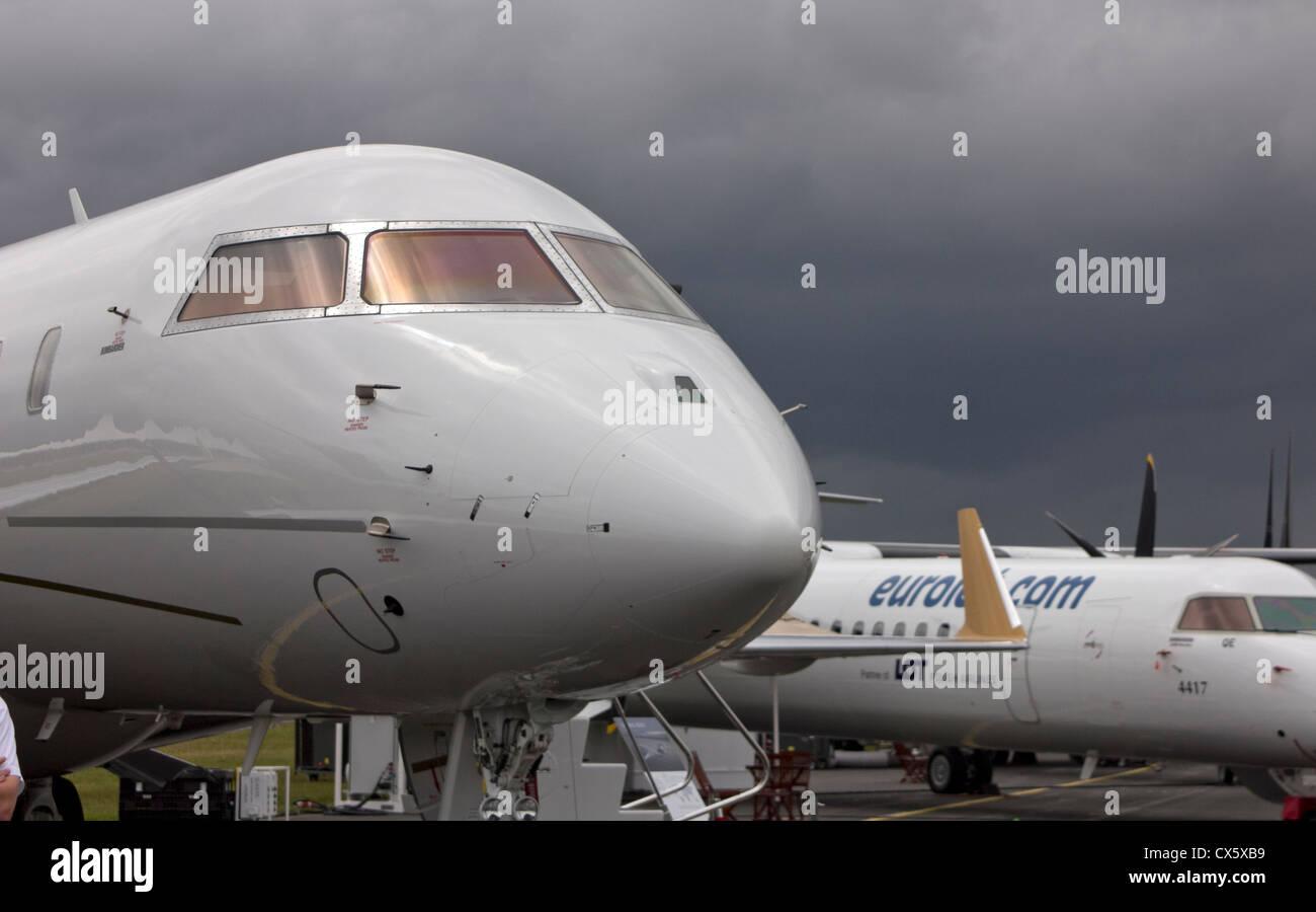 Aircraft on display at the Farnborough Airshow 2012 - Stock Image