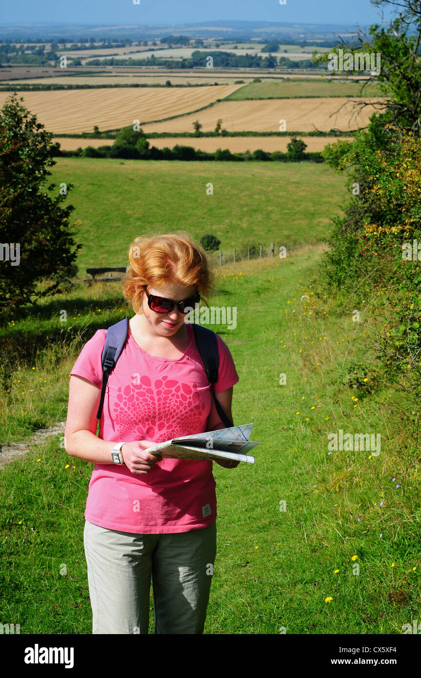 Woman looking at a map in the countryside, near the Ridgeway, Chilterns,  Oxfordshire, UK - Stock Image