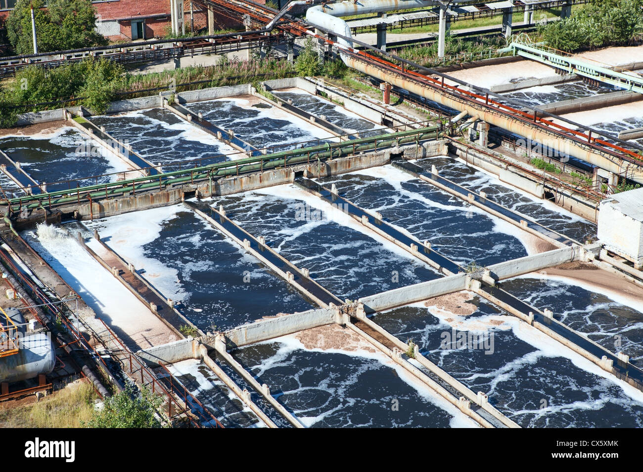 Removing chemical and biological contaminants on sewage treatment plant - Stock Image