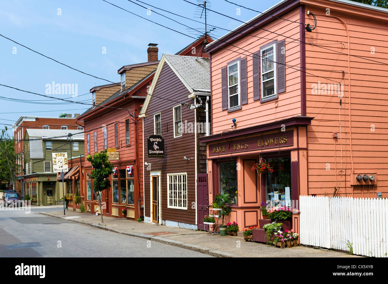 Historic shops and houses, Derby Street, Salem, Massachusetts, USA - Stock Image
