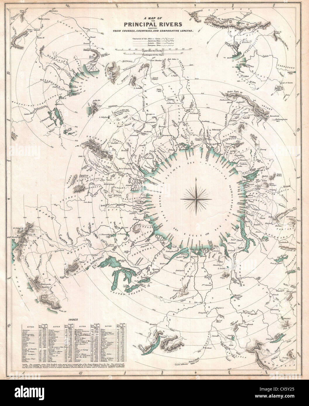 1834 S.D.U.K. Comparative Map or Chart of the World's Great Rivers - Stock Image