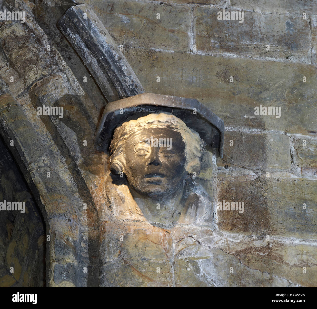 Tonbridge Castle, Kent. corbel - Stock Image