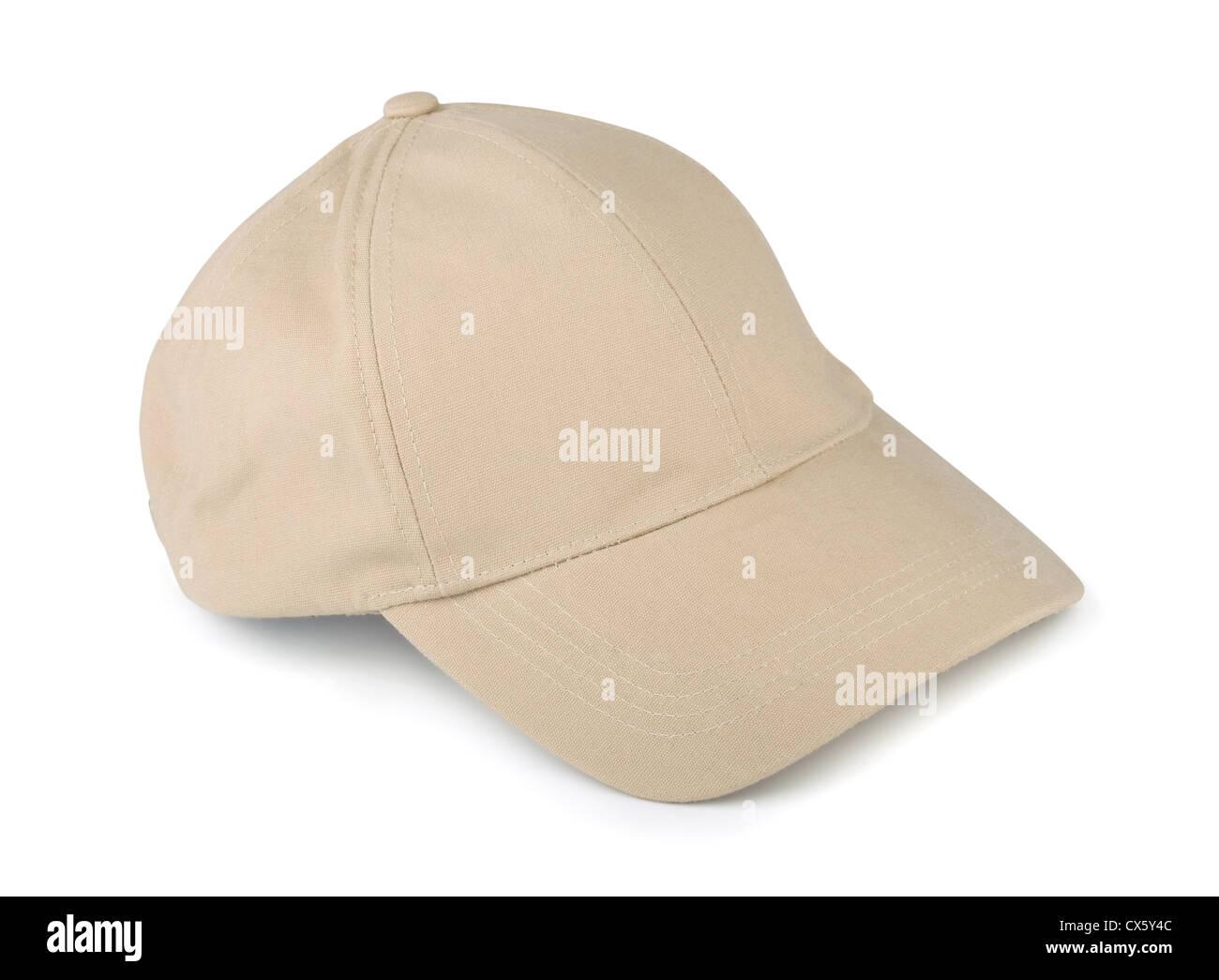 Linen baseball cap isolated on white - Stock Image