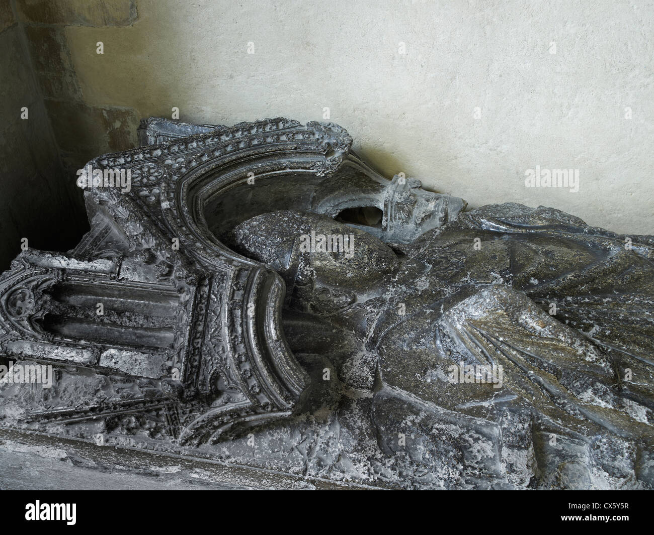 Rochester Cathedral,  Monument to Bishop de St Martin - Stock Image