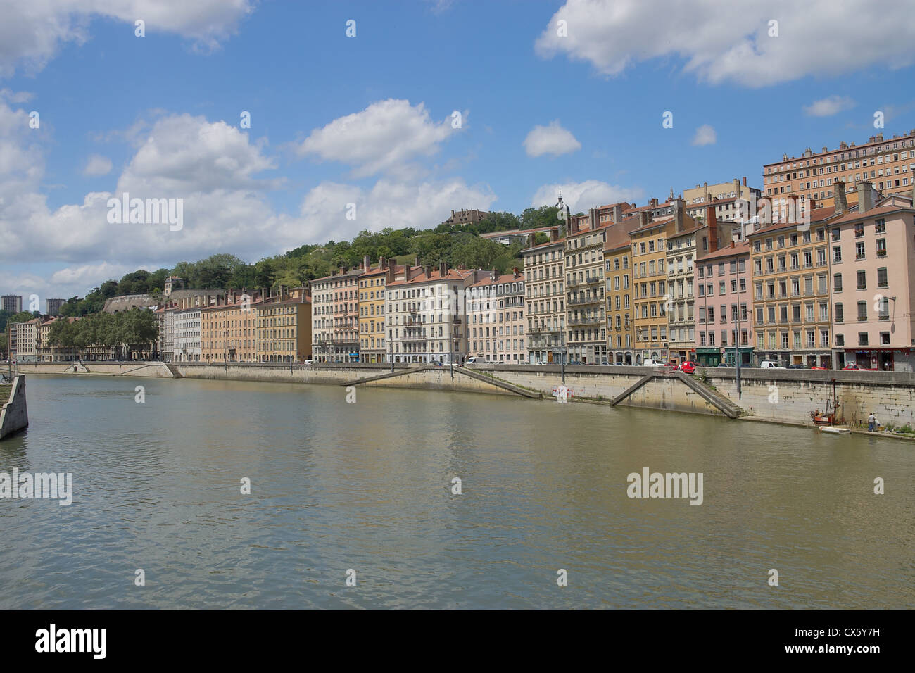 Old buildings on the quay of Saone river in the historical part of Lyon (UNESCO site), France - Stock Image