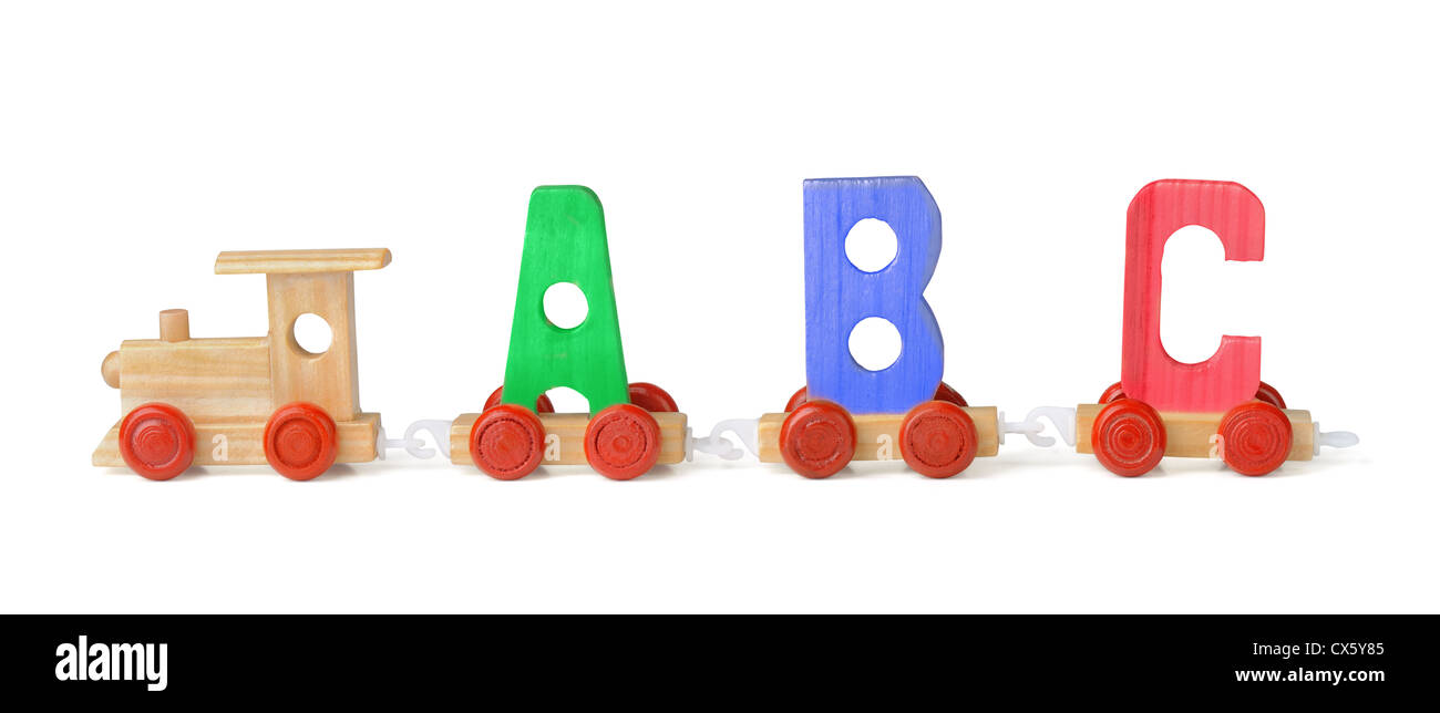 Wooden toy ABC train isolated on white Stock Photo: 50532949