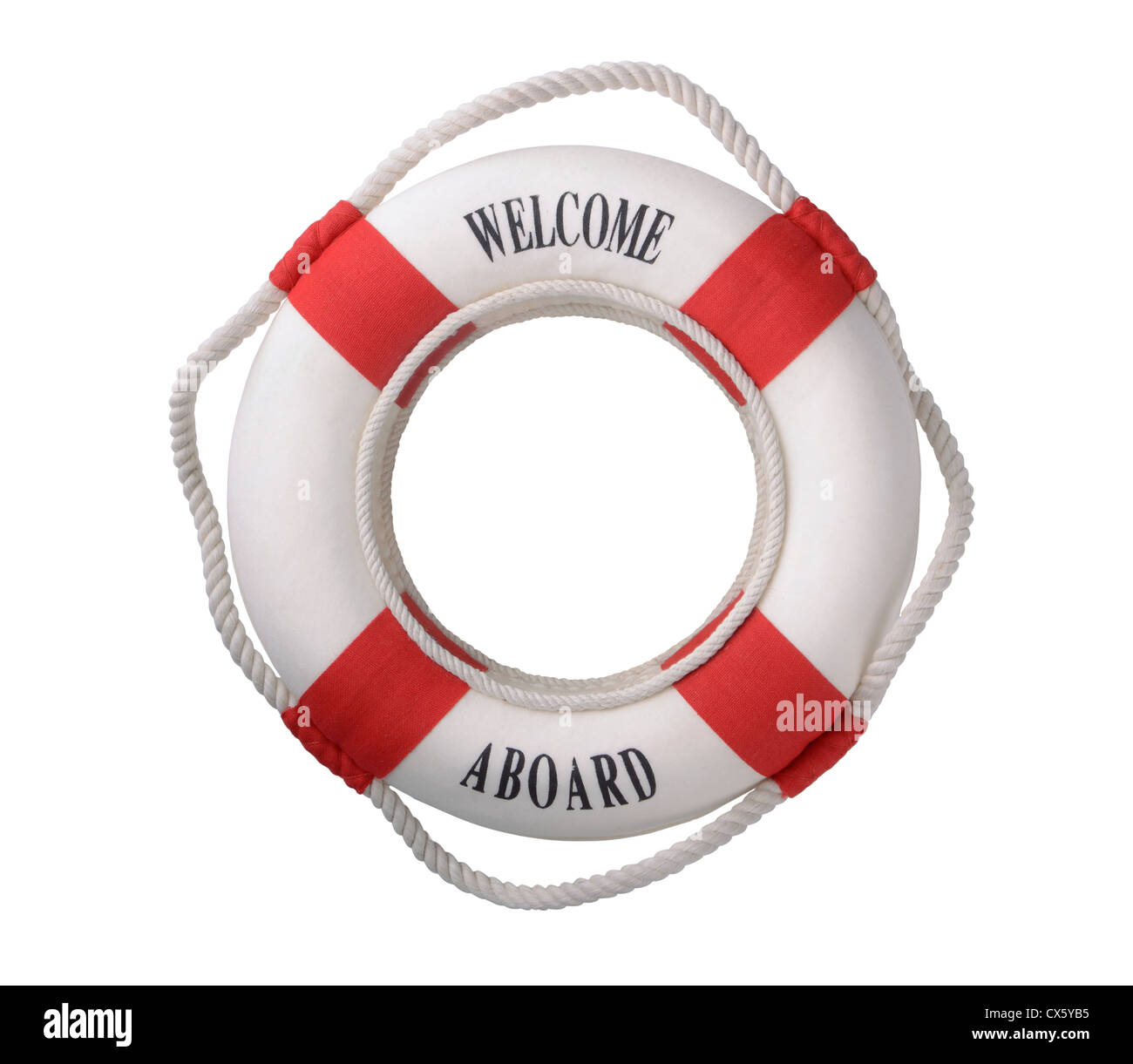 White life buoy with 'Welcome aboard' inscription isolated on white - Stock Image