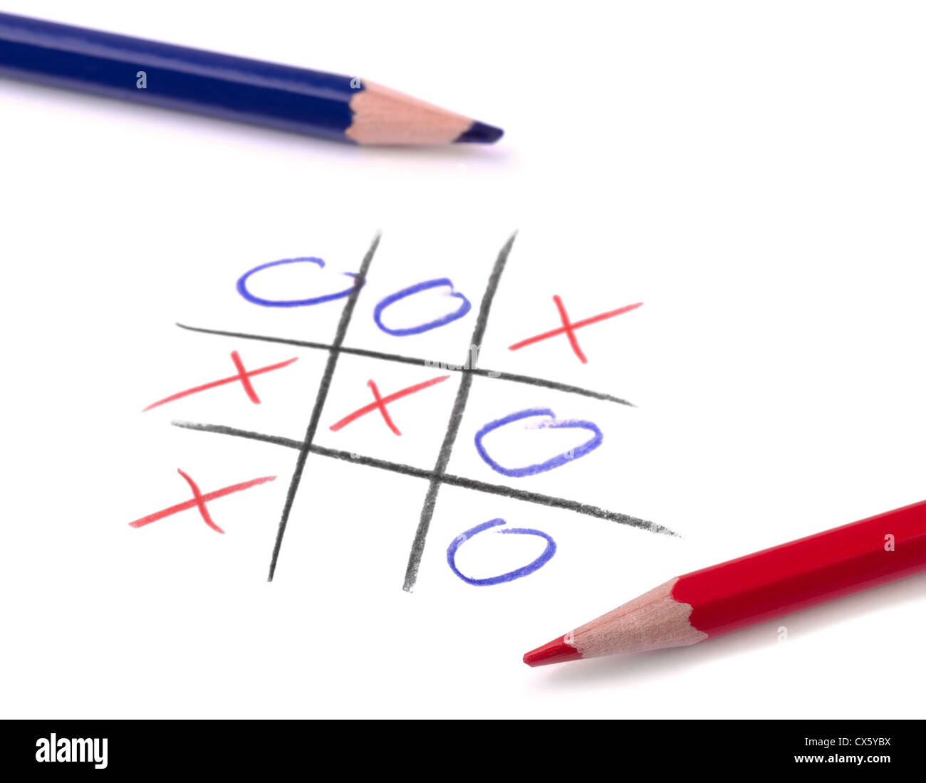 Tic tac toe game and two pencil on white page Stock Photo