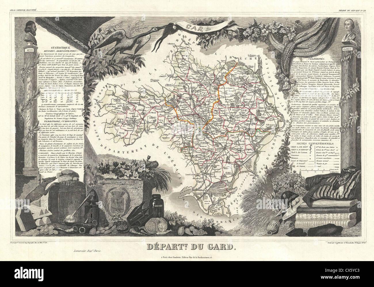 1852 Levasseur Map of the Department du Gard, France - Stock Image