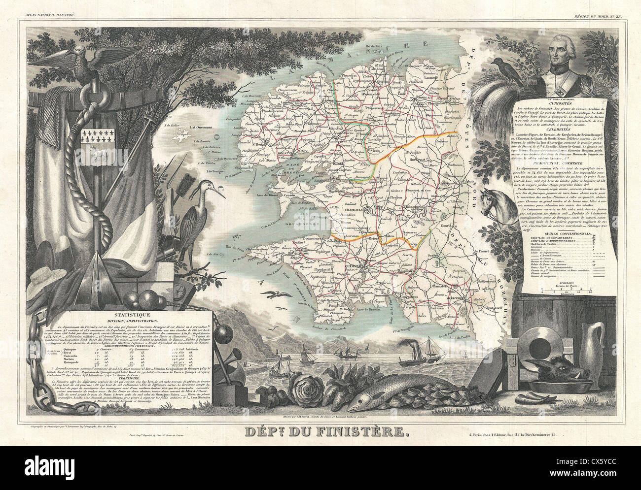1852 Levasseur Map of the Department du Finistere, France - Stock Image