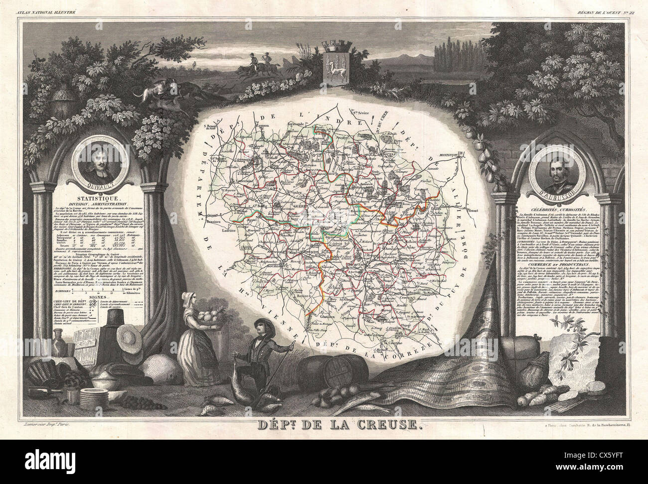 1852 Levasseur Map of the Department La Creuse, France - Stock Image