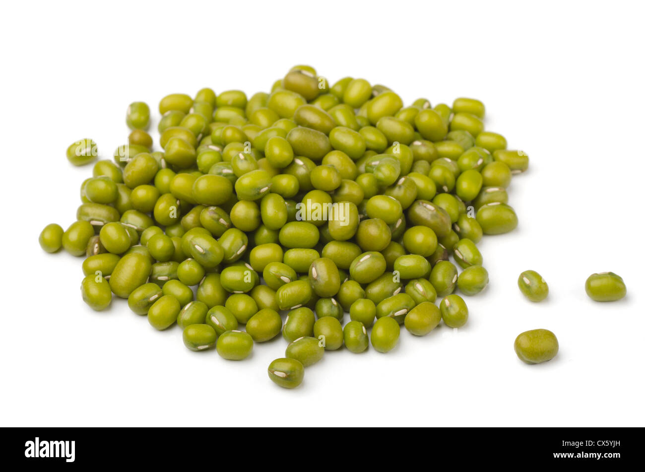 Pile of mung beans isolated on white - Stock Image
