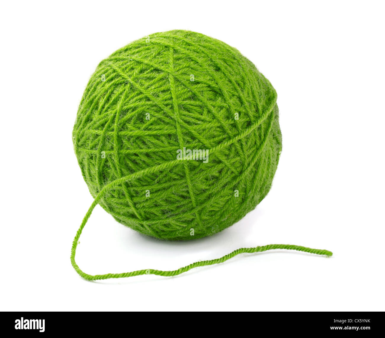 Green wool yarn ball isolated on white - Stock Image
