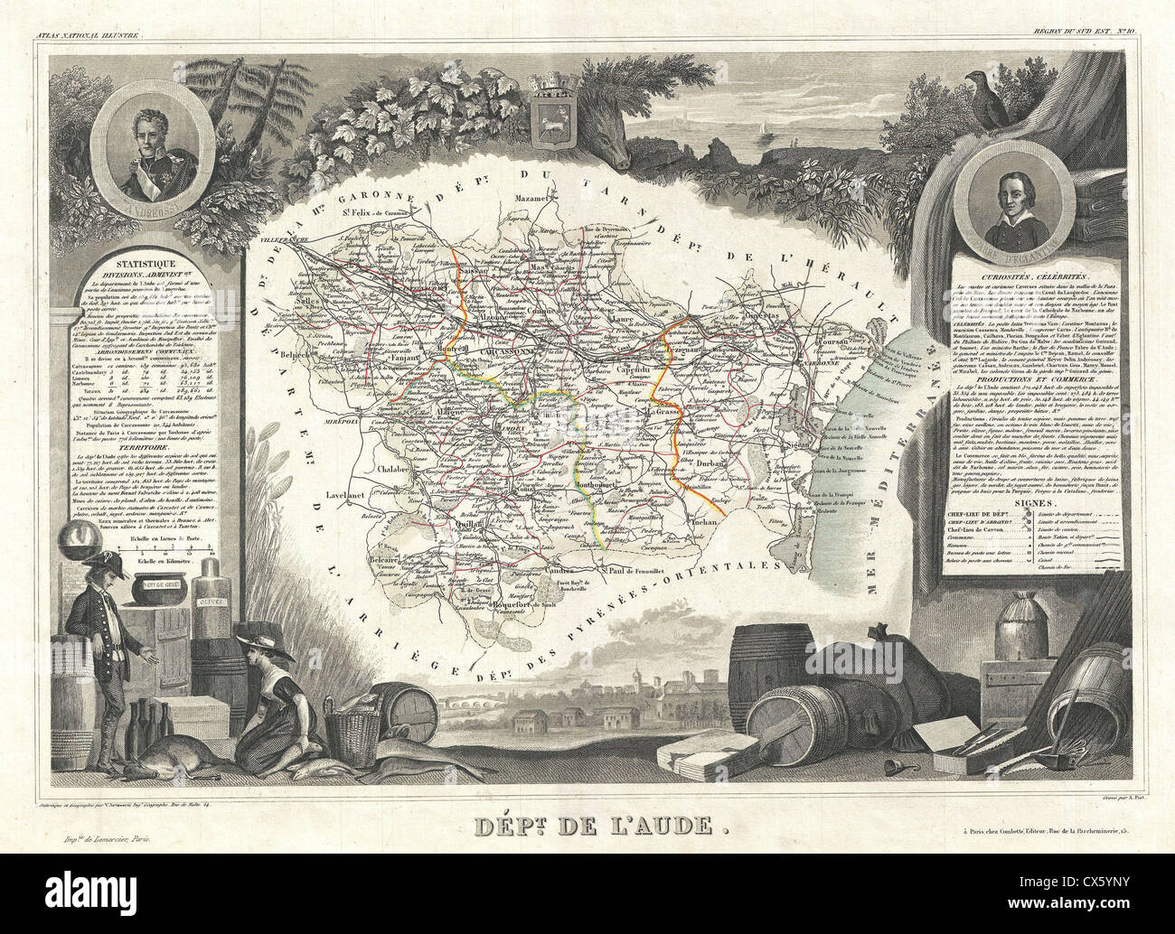 1852 Levasseur Map of the Department L'Aude, France - Stock Image