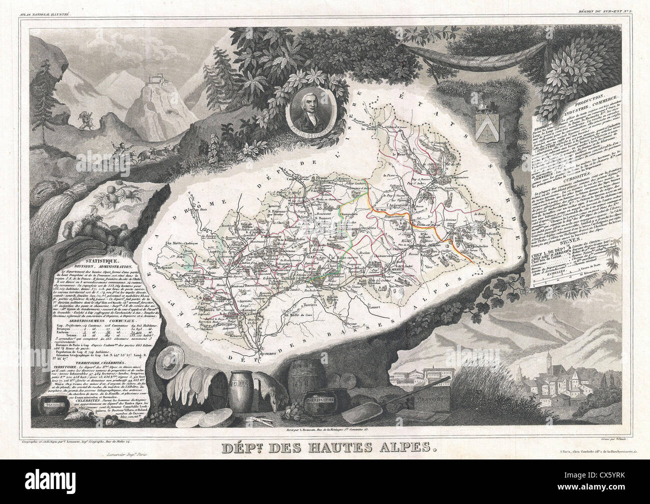 1852 Levasseur Map of the Department Hautes Alpes, France - Stock Image