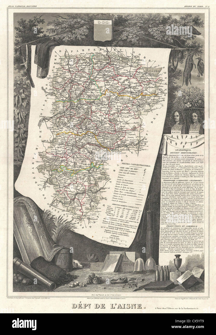 1852 Levasseur Map of the Department L'Aisne, France - Stock Image