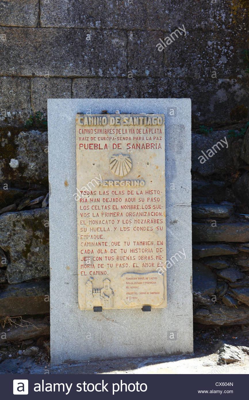 Camino de Santiago. Sign at Puebla de Sanabria (Zamora) Castilla y Leon, España. - Stock Image