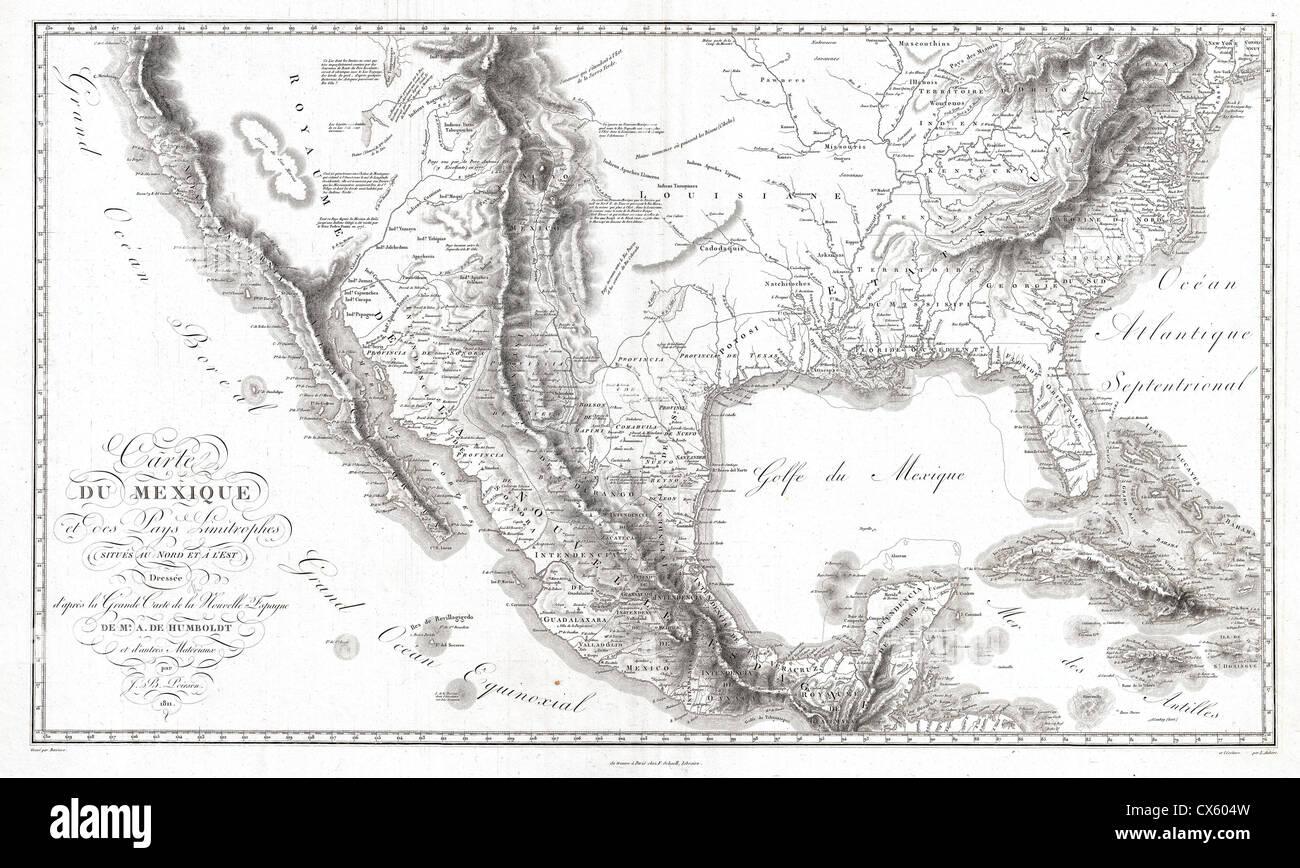 1811 Humboldt Map of Mexico, Texas, Louisiana, and Florida - Stock Image
