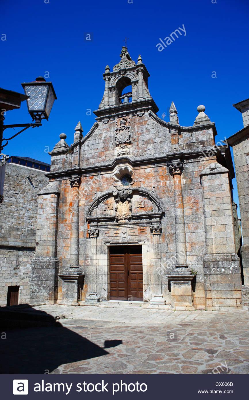 Old church in Puebla de Sanbria, Zamora, Castilla y Leon, Spain. - Stock Image