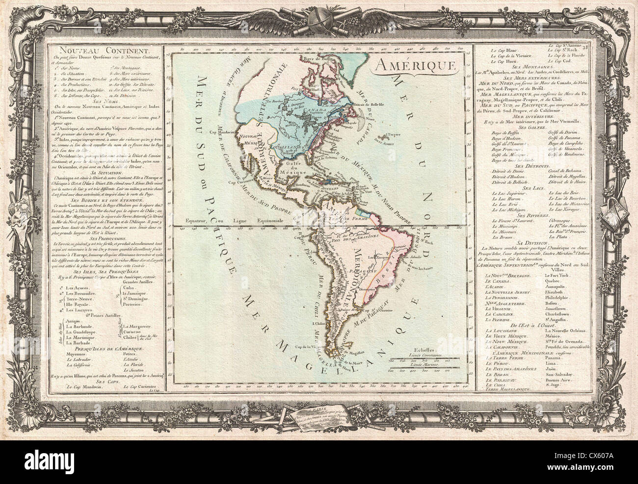 1760 Desnos and De La Tour Map of North America and South America - Stock Image