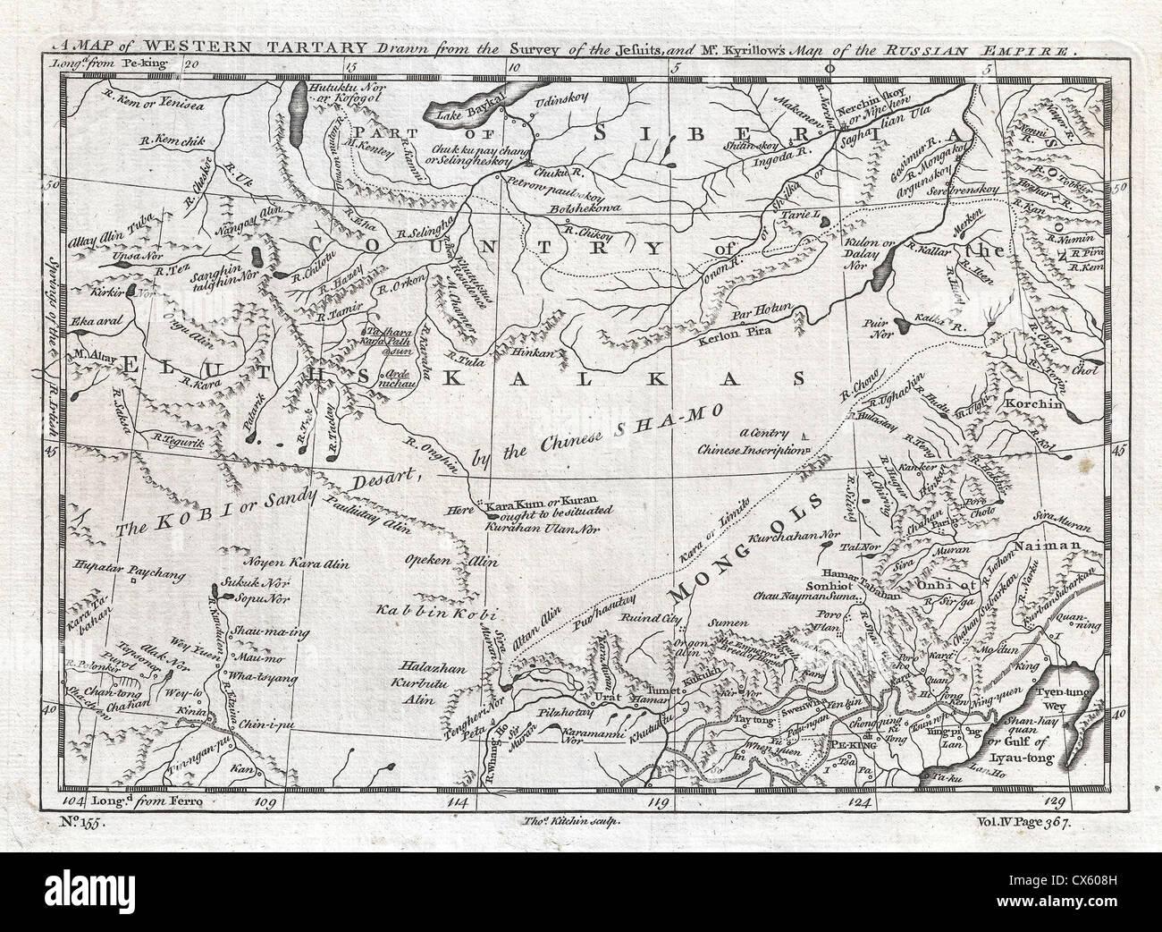 Map Of Asia Gobi Desert.1747 Kitchin Map Of Central Asia And The Gobi Desert Stock Photo