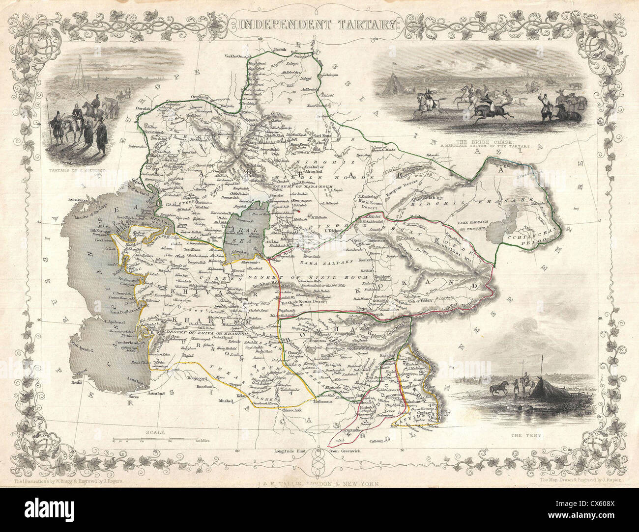 1851 Tallis and Rapkin Map of Independent Tartary (Central Asia) - - Stock Image