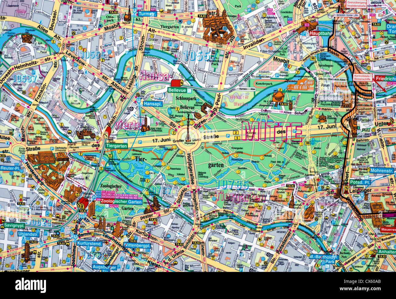 Map Of Berlin Germany Close up of a map of Berlin city centre, Germany Stock Photo