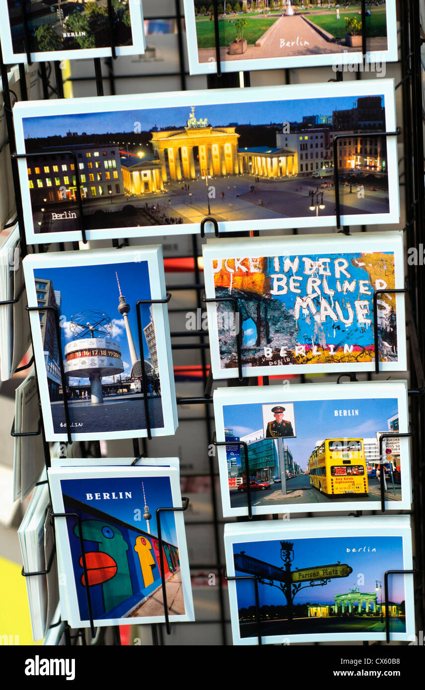 Postcards outside a souvenir shop in Berlin, Germany - Stock Image