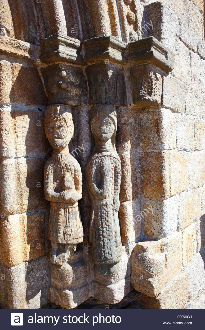 Sculptures at the entrance of a church in Puebla de Sanabria, Zamora, Castilla y Leon, Spain. - Stock Image