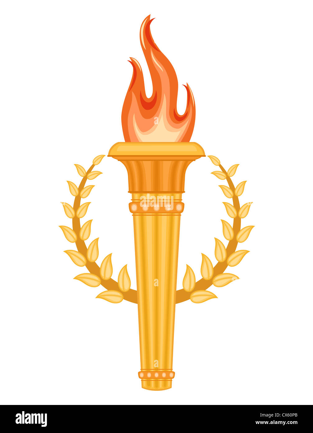 Greek Olympic Torch with golden crown of laurels. Olympics games symbol. Isolated over white background. - Stock Image