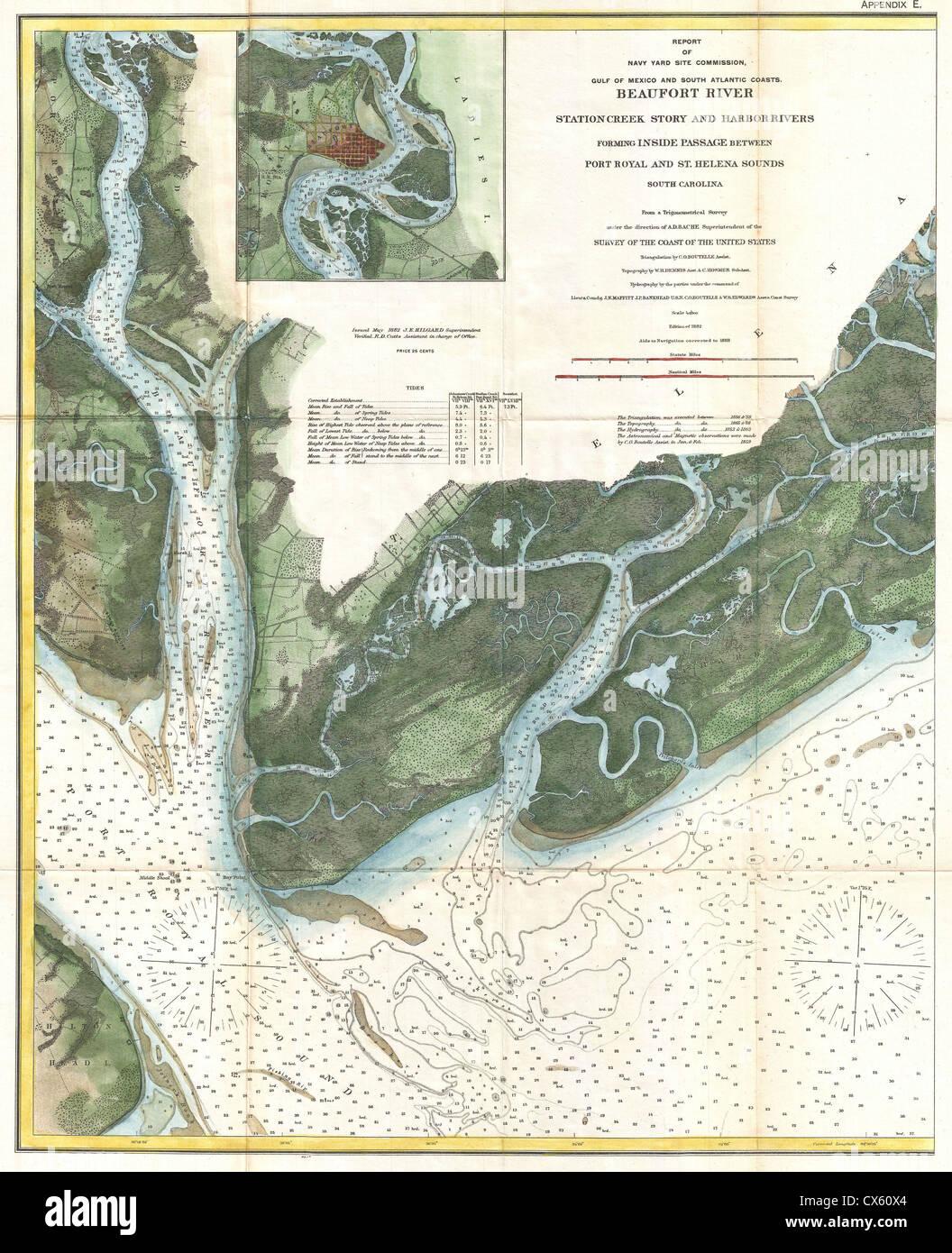 Coast Of South Carolina Map.1882 U S Coast Survey Map Of Beaufort South Carolina Stock Photo