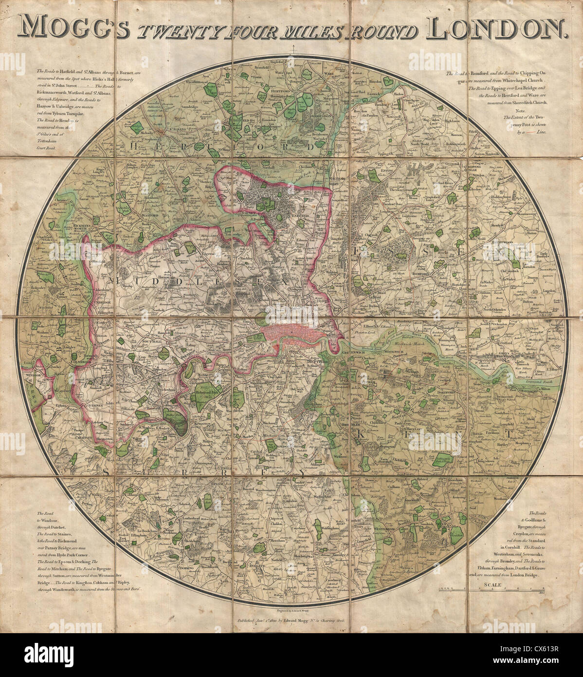 1820 Mogg Pocket or Case Map of London, England (24 Miles around - Stock Image