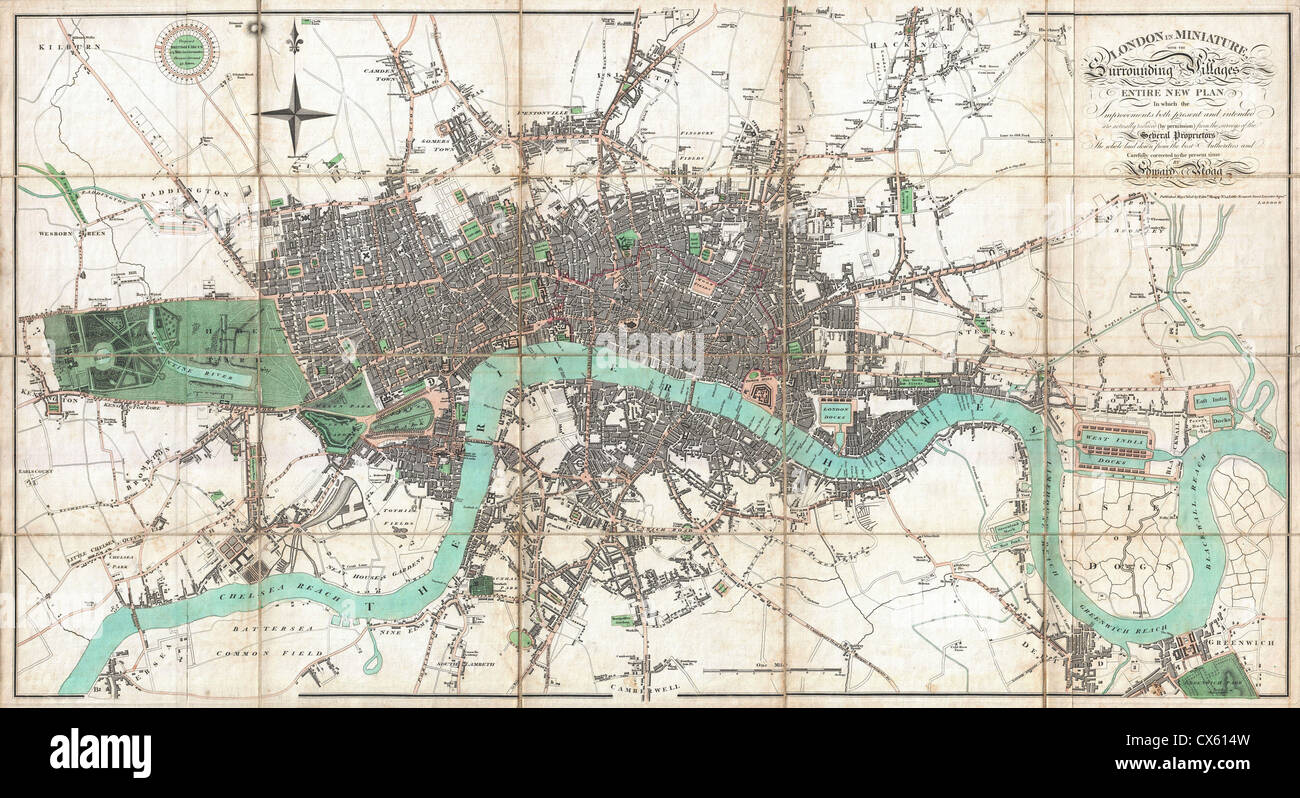 1806 Mogg Pocket or Case Map of London, England - Stock Image