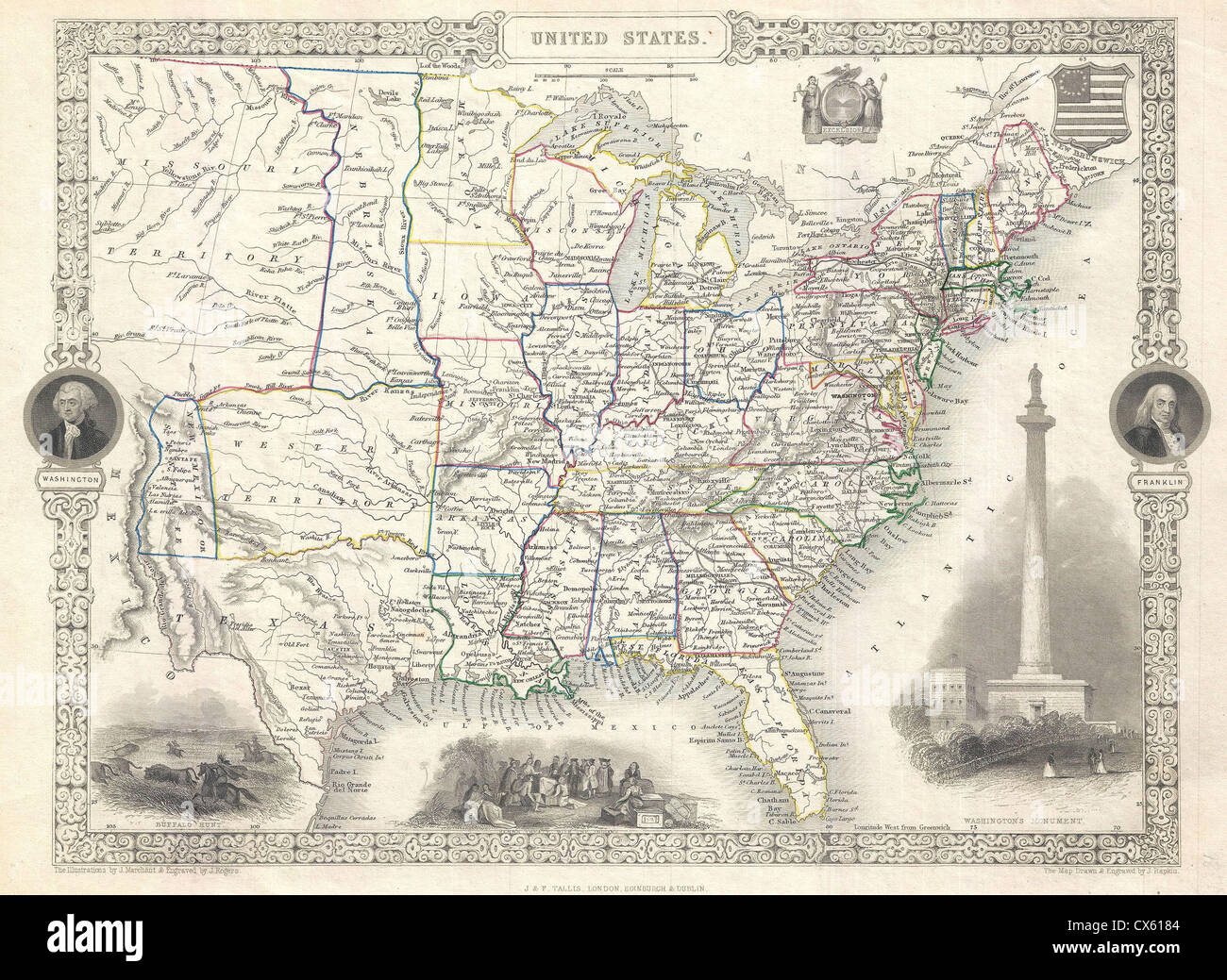 1851 Tallis and Rapkin Map of the United States - Stock Image