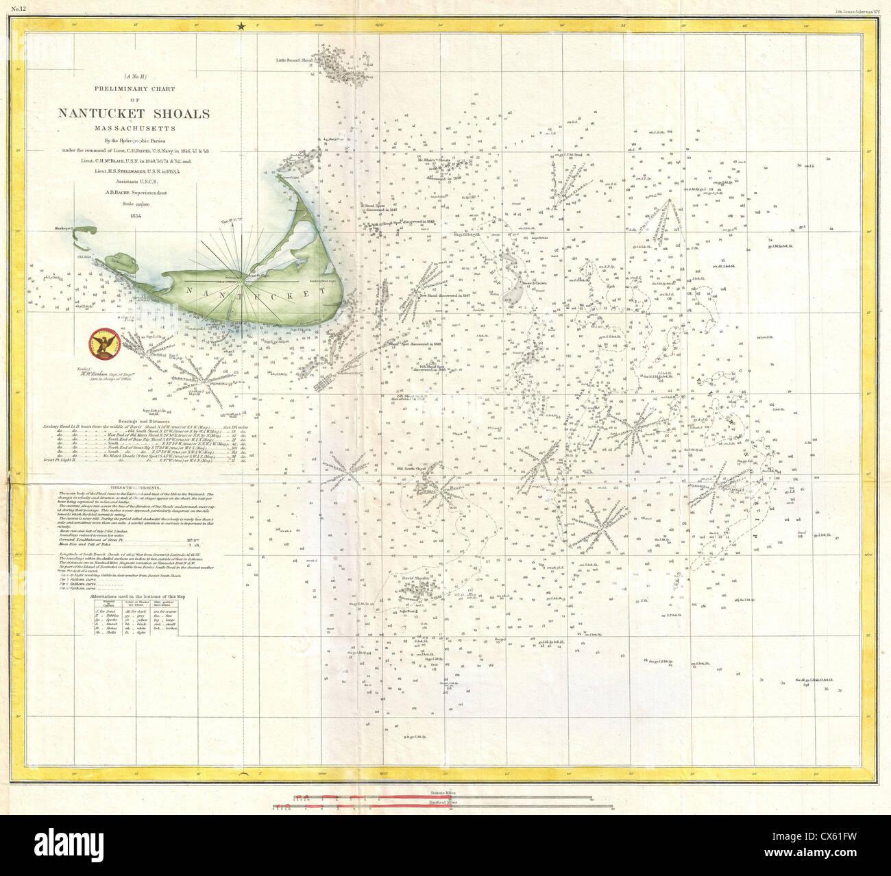 1854 Us Coast Survey Nautical Chart Or Map Of Nantucket Stock - 1854-us-map