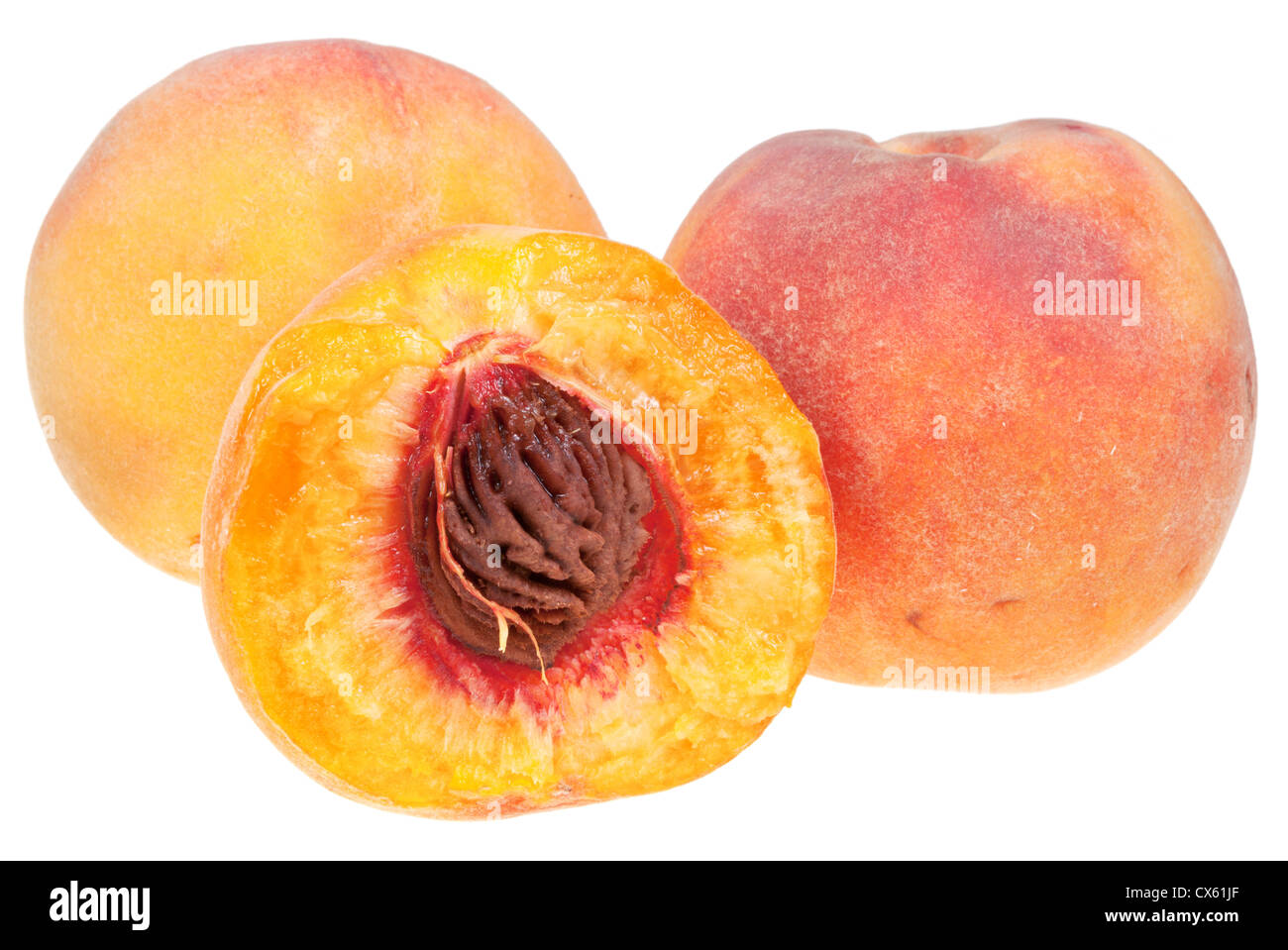 ripe juicy peaches isolated on white background - Stock Image